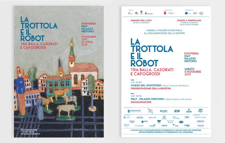 Invito Mostra, La Trottola e il Robot, Casorati, Balla, Capogrossi, Palp, Pontedera, Design Deferrari modesti