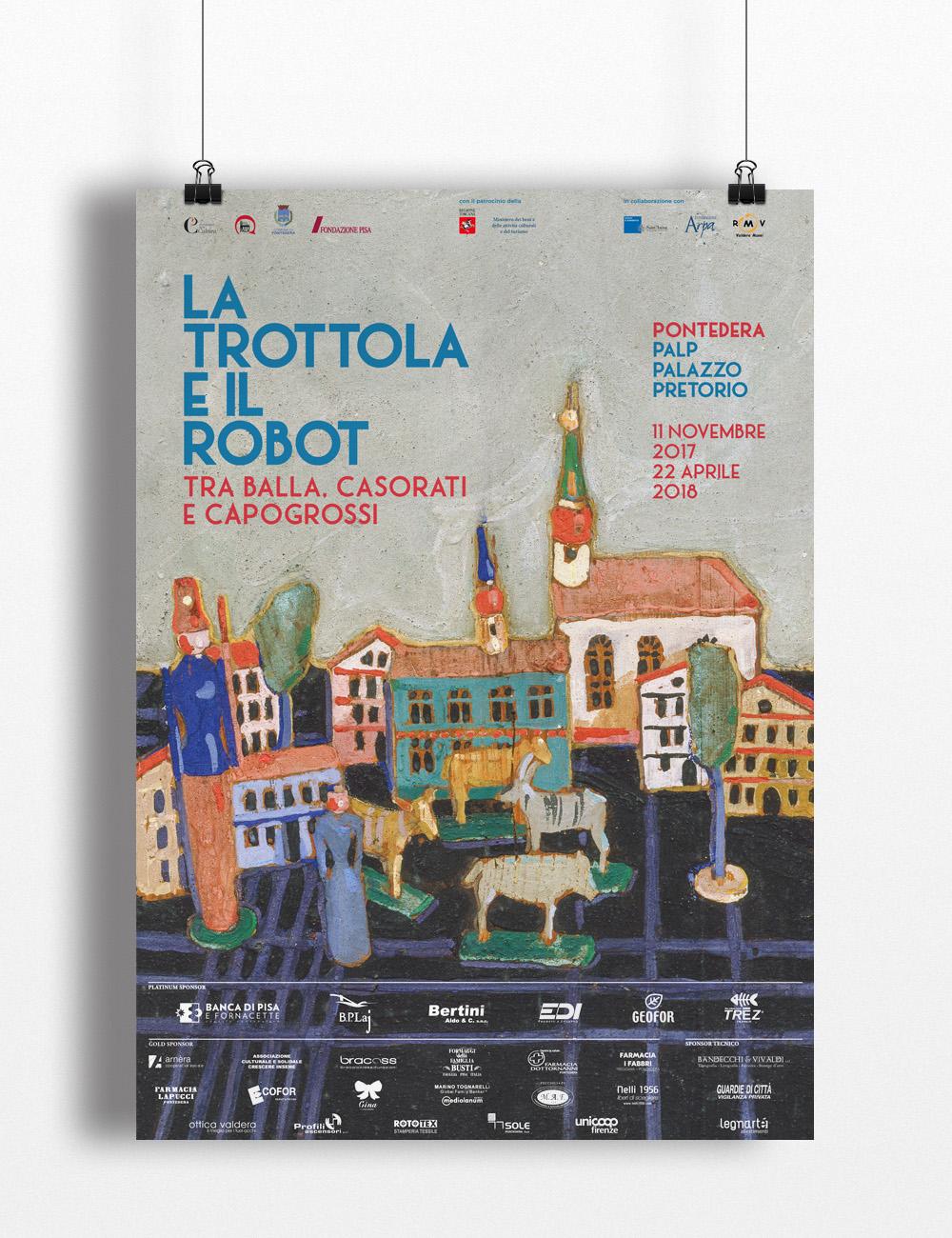 Manfiesto Mostra, La Trottola e il Robot, Casorati, Balla, Capogrossi, Palp, Pontedera, Design Deferrari modesti