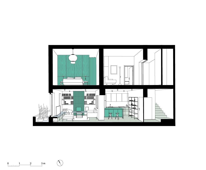 House LM, Brozzi, Firenze, Deferrari+Modesti, ristrutturazione, interior, section